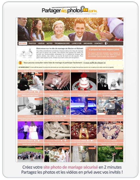 Espace mariage sécurisé en ligne pour partager ses photos de mariage